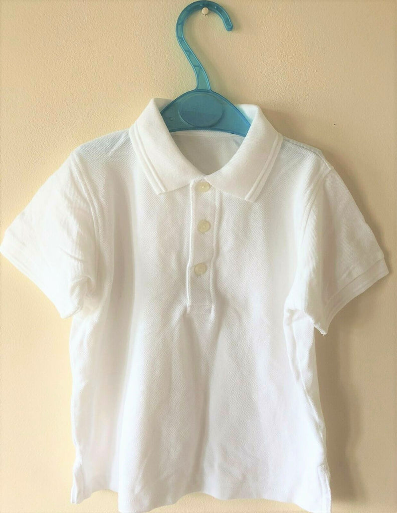 New Boys Girls School Polo Shirt Short Sleeved - Pure White - Exstore - Ages 9 & 10 Years