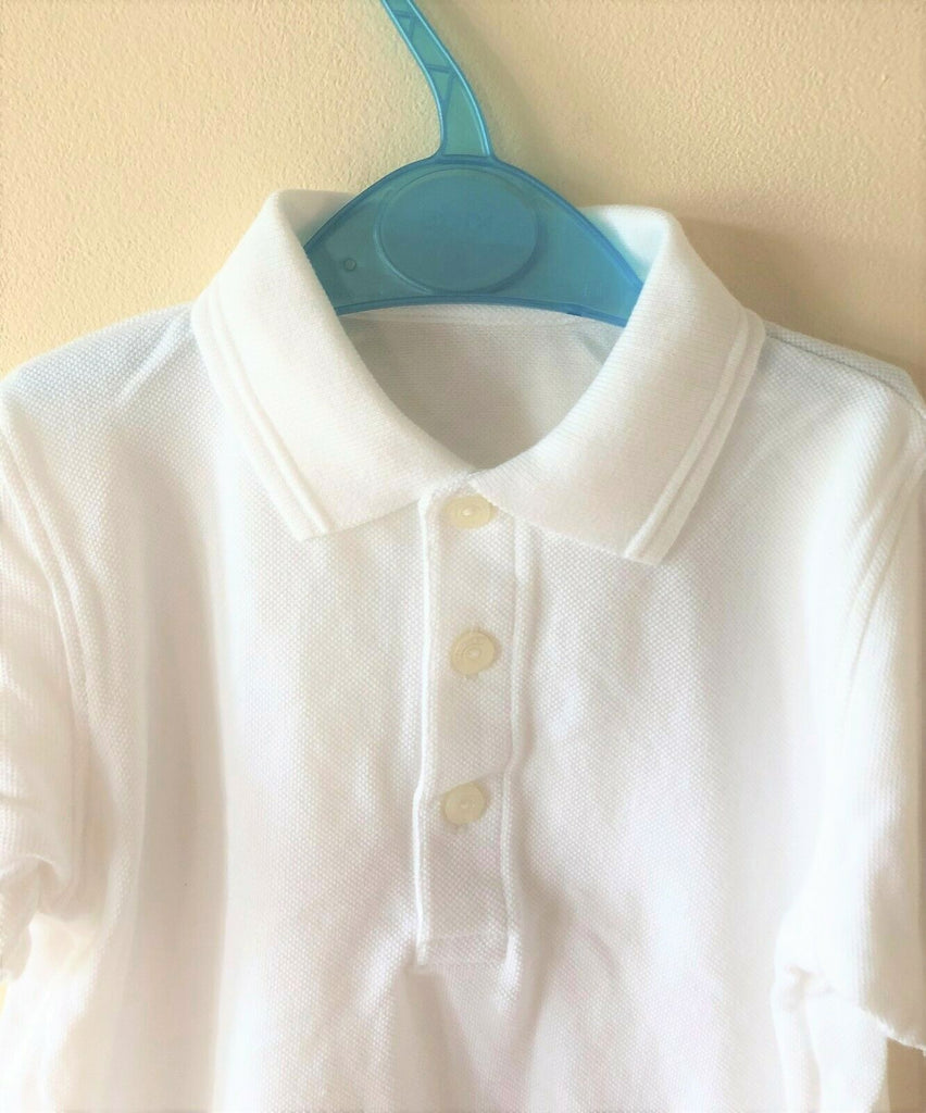 New Boys Girls School Polo Shirt Short Sleeved - Pure White - Exstore - Ages 3 & 4 Years