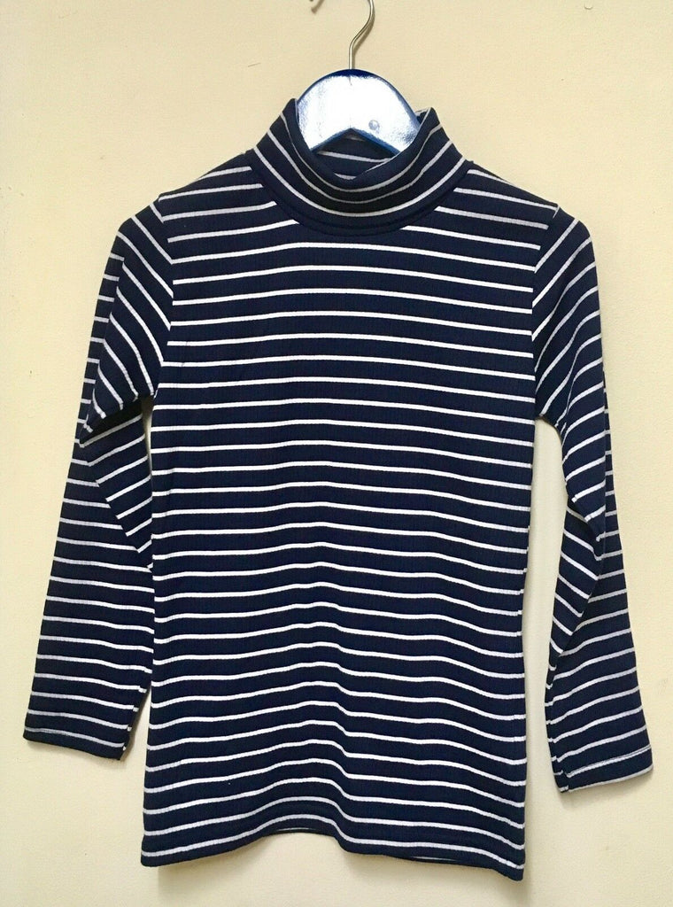 New Girls Marl Navy Stripe Roll Neck Top -  H&M Exstore - 100% Cotton - Age 6-7 Years