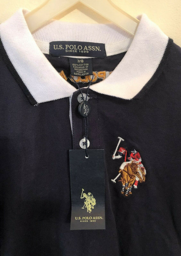 New US Polo Assn Boys Polo Shirt - Navy Blue Long Sleeved - Ages 4-,5 6-7, 8-9 Years