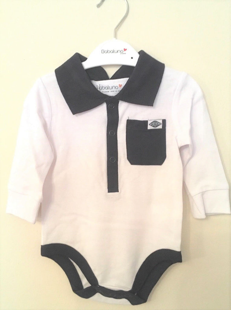 Baby Boys New Polo Shirt All In One Vest - Exstore Babaluno - Navy and White Sizes 0-12 Months