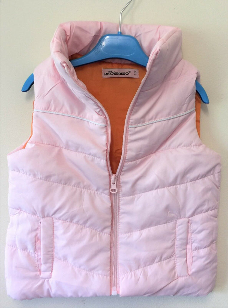 New Girls Puffa Style Mini Gilet Bodywarmer - Baby Pink & Light Orange Exstore - Age 2/3 Yr