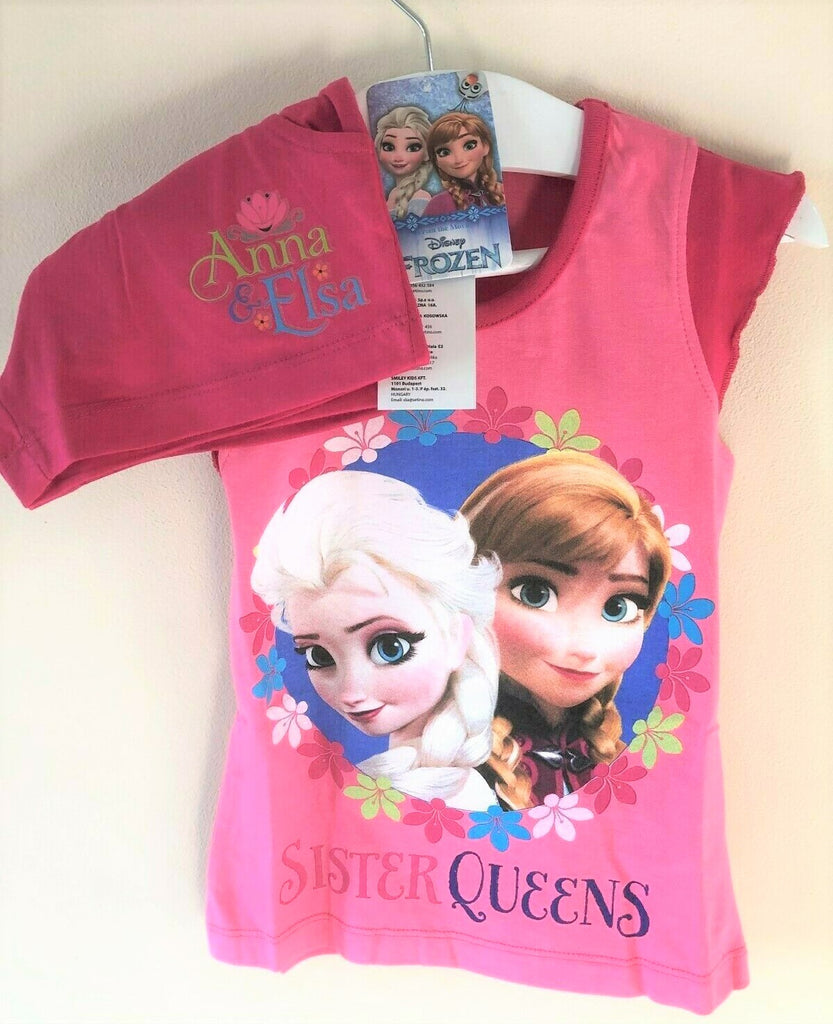 New Disney Frozen Sister Queens Pyjama Shorts Set - Official Exstore - Ages 4-12 Yrs