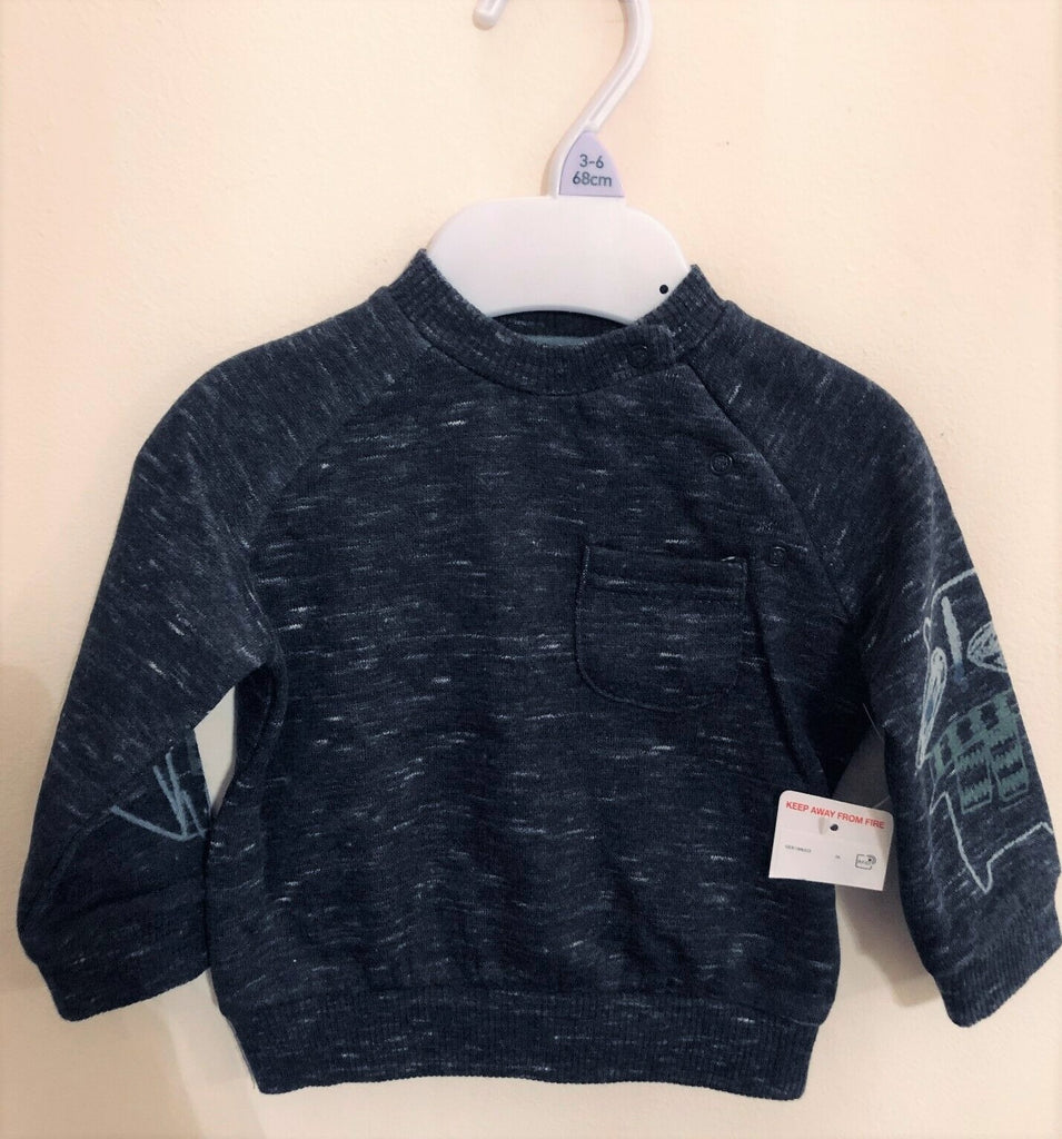 New Baby Boys Navy Blue Sweatshirt Fox Racoon - Exstore F&F Tesco - Age 3/6 Months