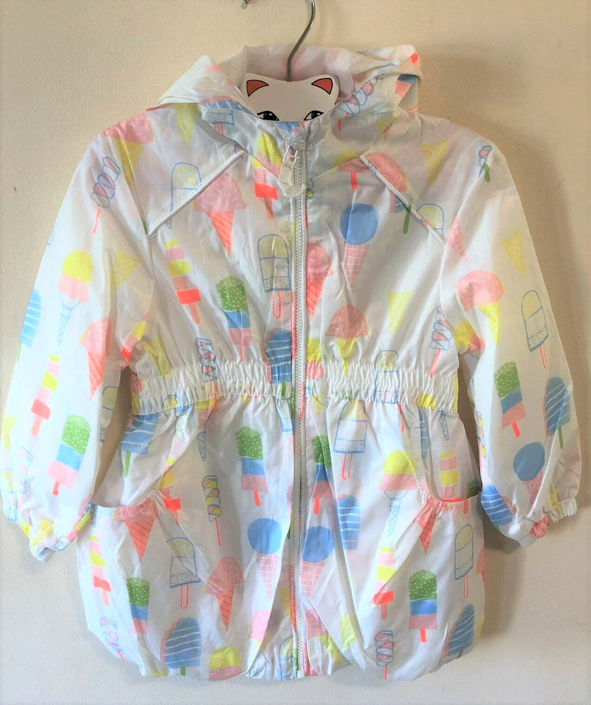 New Girls Lightweight Raincoat Showerproof Icecream Design - Exstore - Ages 3-24 Months