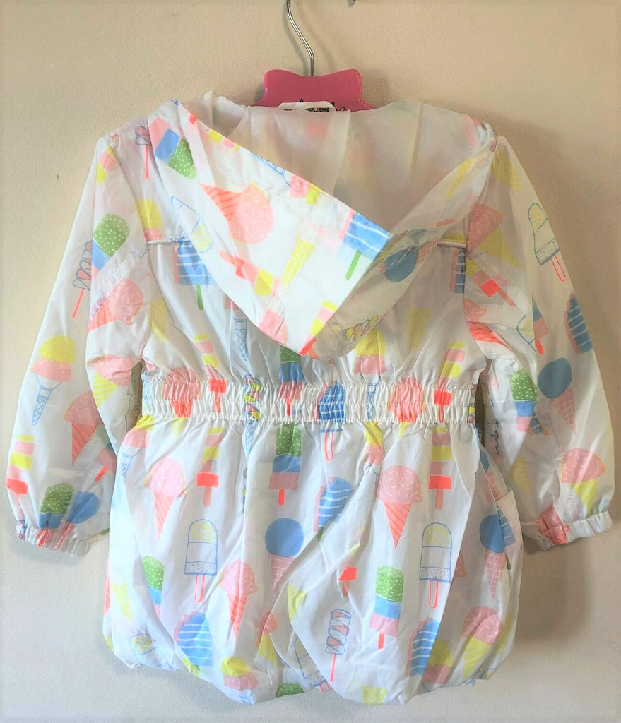 New Girls Lightweight Raincoat Showerproof Icecream Design - Exstore - Ages 3-12 Months
