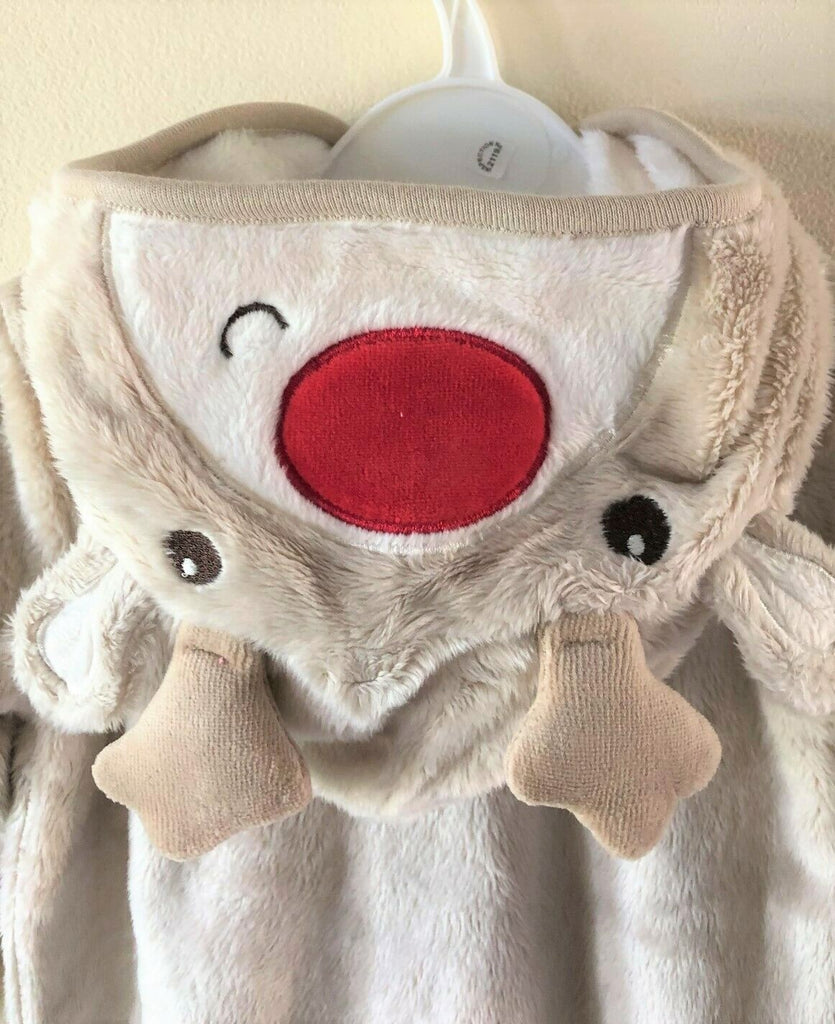 New Christmas Baby Boy/Girl Hooded Reindeer Pramsuit All In One - Exstore George - Ages 0-18M