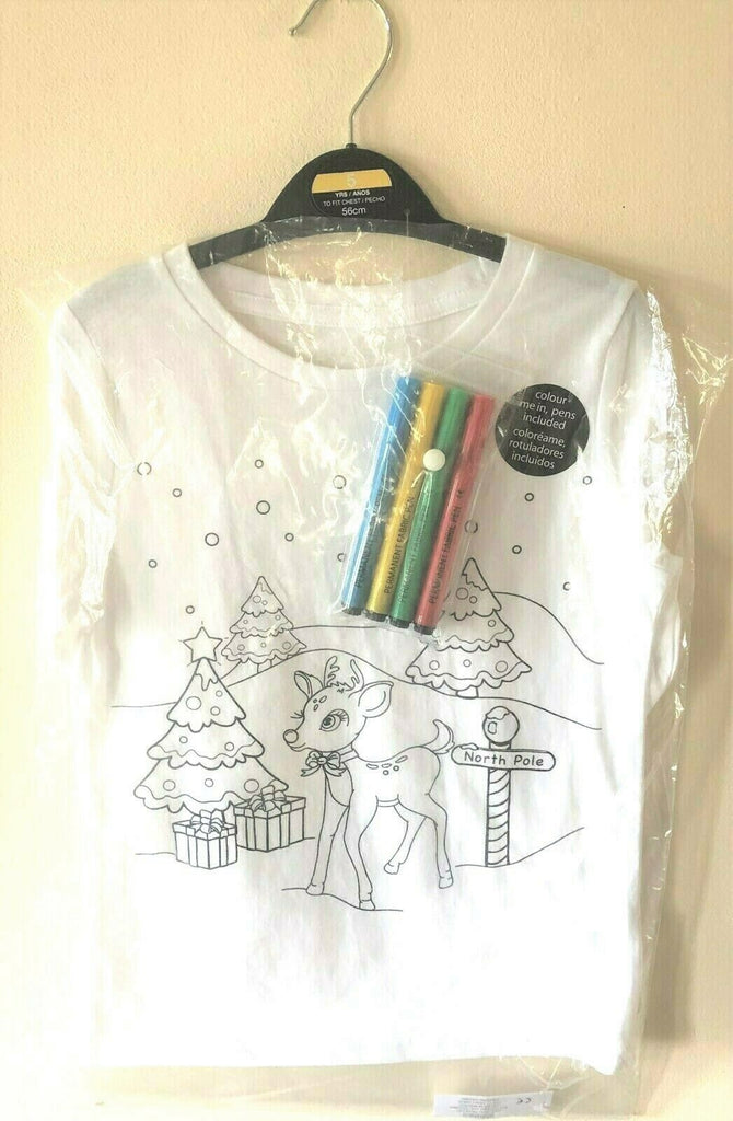 New Kids Colour Me In Christmas Top Reindeer - Exstore Dunnes - Fabric Pens Ages 3-10 Years