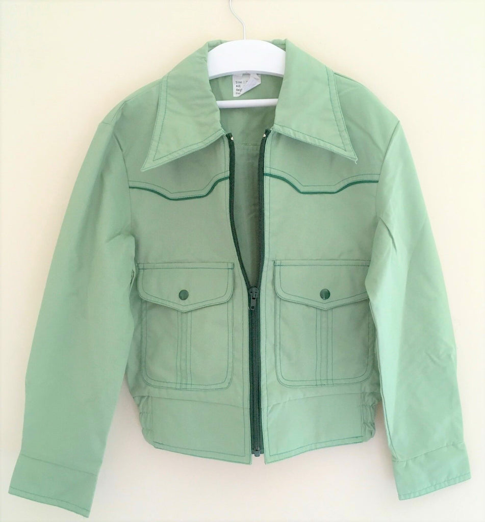 New Retro 1970s Boys Holborn Jacket - Spearmint Green - Exstore - Size 11-12 & 13-14 Years