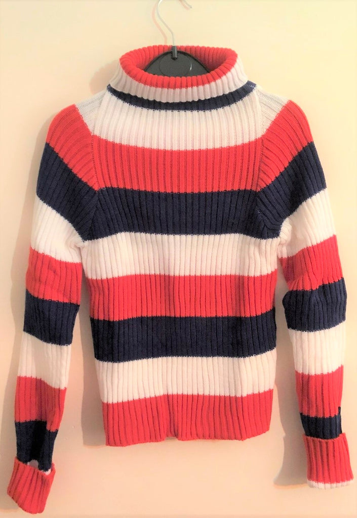 New Exstore Girls Red White Blue Polo Necked Rib Knit Jumper Age 6-7 Years