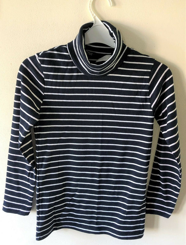 New Girls Marl Navy Stripe Roll Neck Ribbed Top -  H&M Exstore - 100% Cotton - Ages 4-10 Years