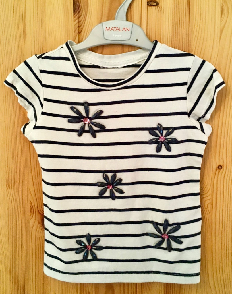 NEW Girls Tshirt - Exstore Matalan Beaded Blue & White Floral Sizes 4-8 Years