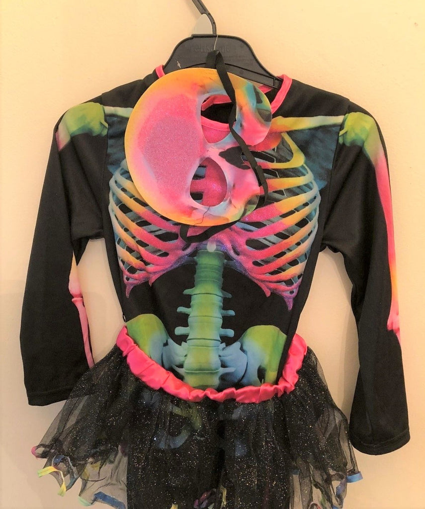 New Girls Halloween Skeleton 3 Pc Costume Pink Shimmer - Exstore F&F - Age 5/6 Yrs