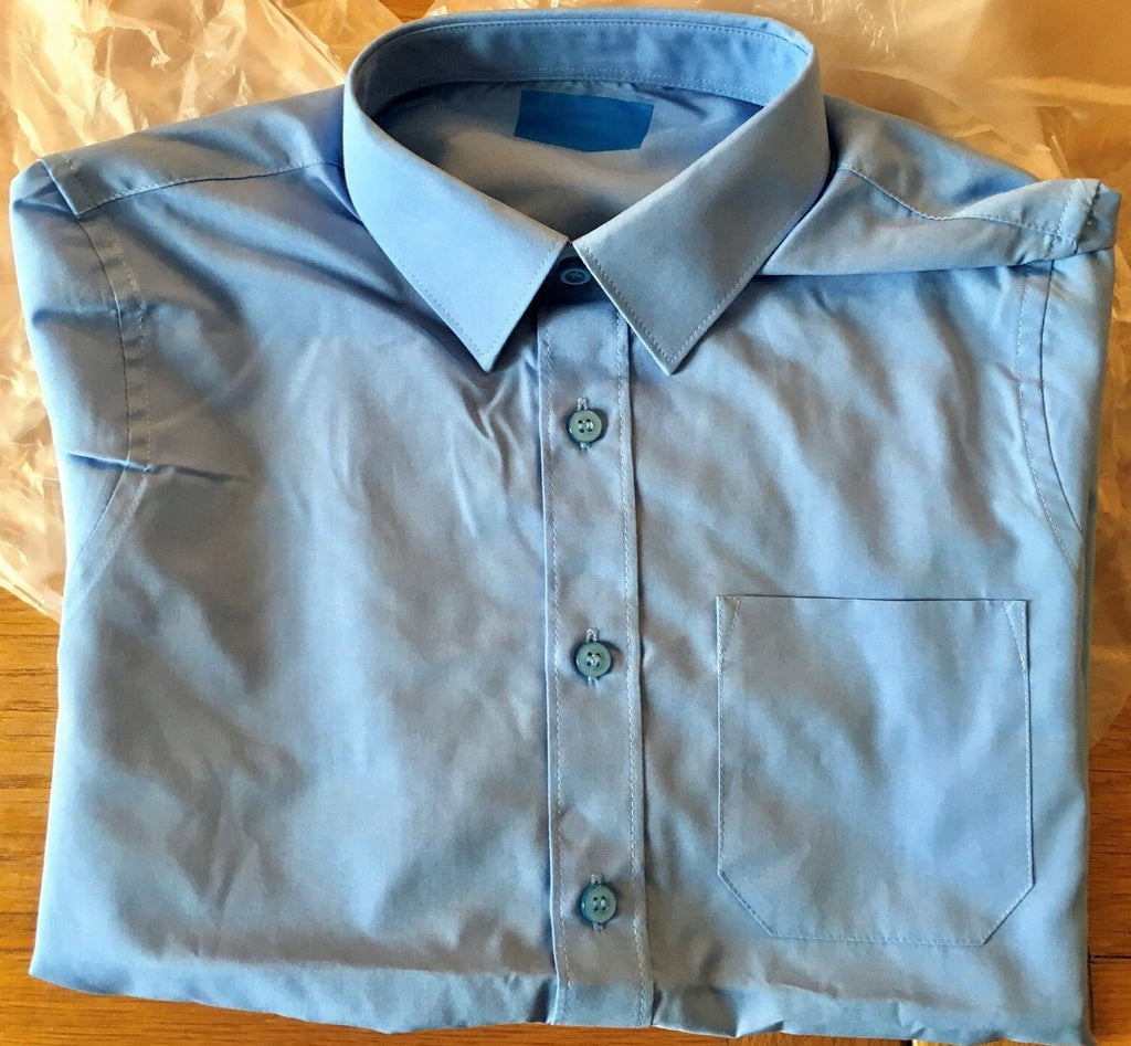 New Boys Long Sleeved Blue School Shirts - Exstore - Ages 12-14 Years