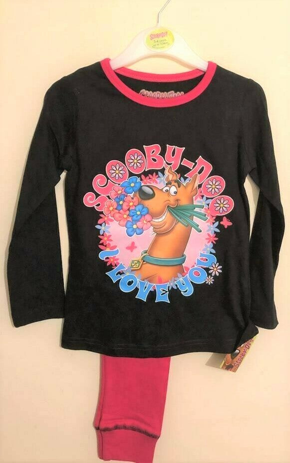 New Girls Scooby Doo Pyjama Set Christmas Gift Pink Black - Official Exstore - Age 3-4 Yrs