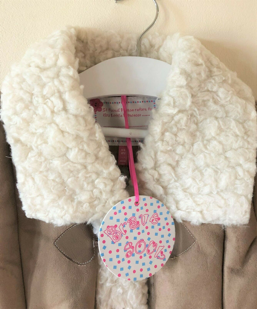 New Girls Duffle Coat Retro - Sheepskin Style Fleece Trim- Exstore Brave Soul - Ages 4-7 Years