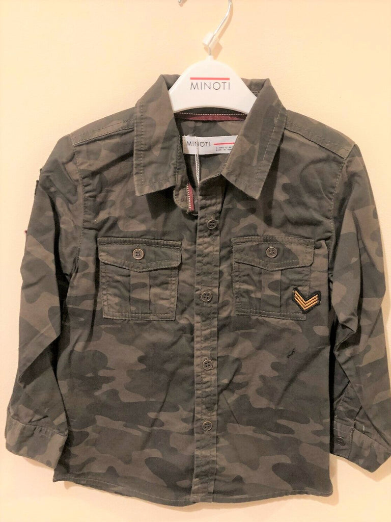 New Boys Yay 10 Camoflage Shirt Brown 100% Cotton - Exstore Minoti - Ages 9-24 M