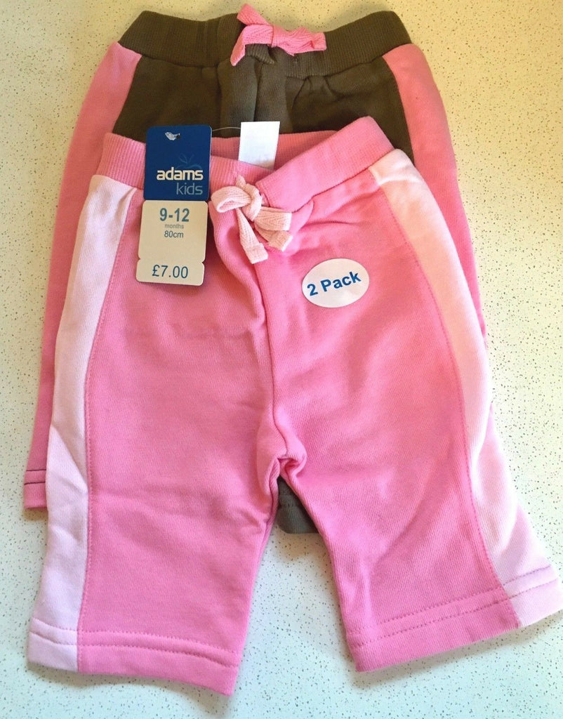 New Baby Girls Long Shorts Set 2 Pc - Exstore Adams Kids - Pink Brown 9-12 Months