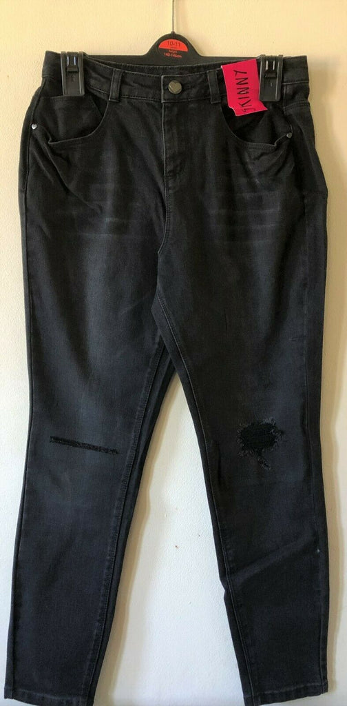 NEW Girls Black Washed Ripped Skinny Jeans-  Exstore George - Sizes 4-12 Years