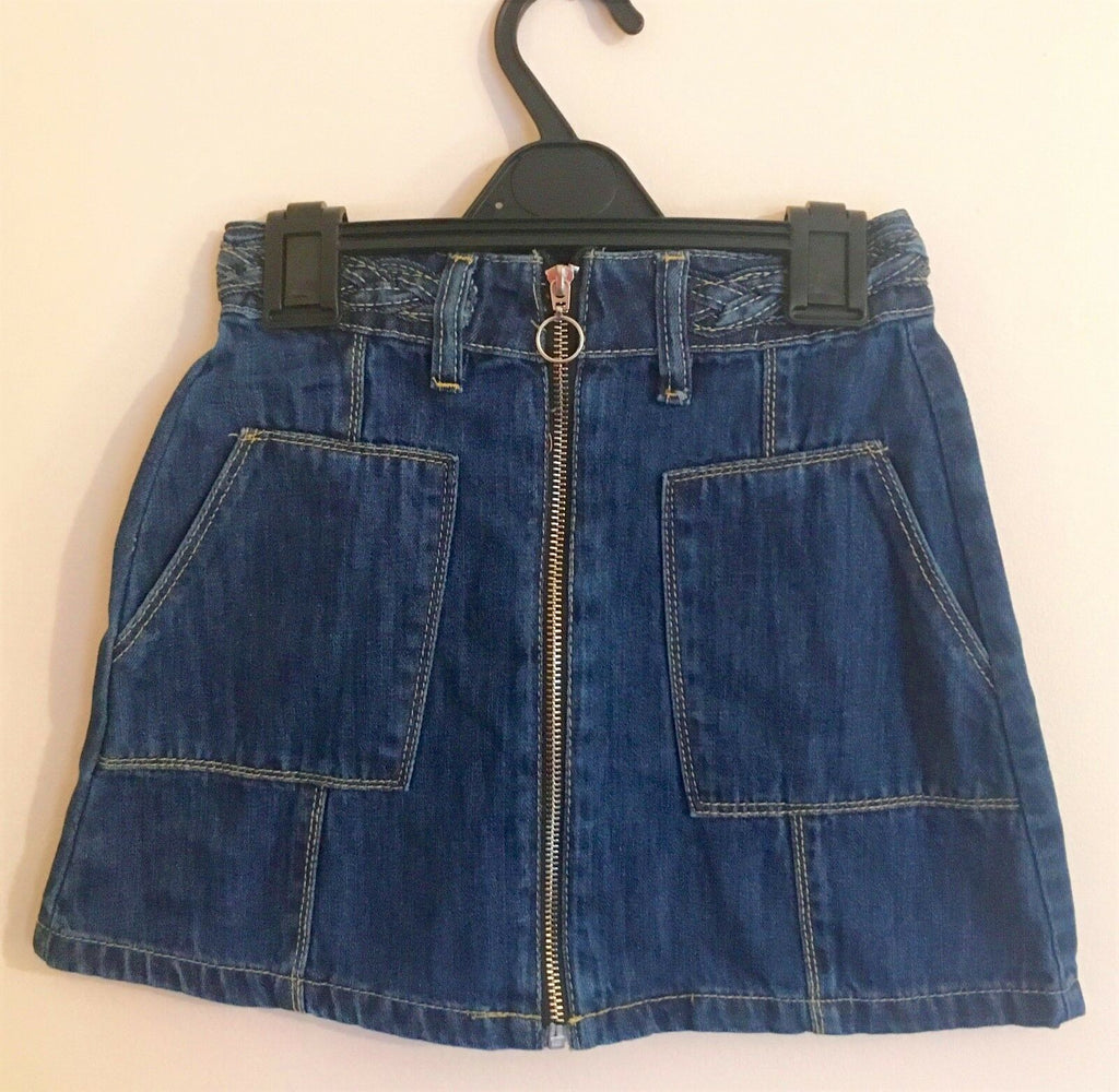 New Girl's A Line Denim Zip Skirt Blue Adjustable Waist -  Exstore Chainstore - Ages 9-14 Years