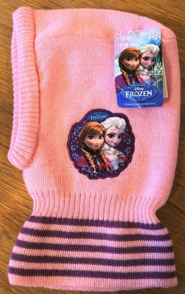 New Girls Frozen Warm Snood Hat - 3 Colours - Official Disney - One Size 3-8 Yrs