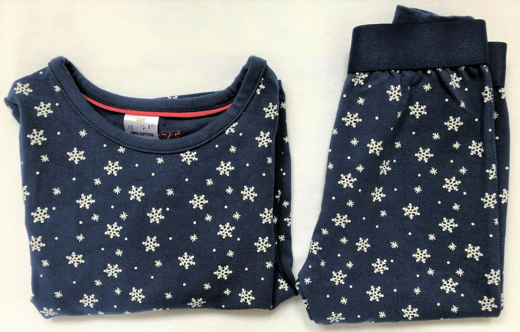 New Baby Girls Christmas Snowflake Pyjama Set - Exstore Snooze - Navy Blue - Age 2-3 Yrs