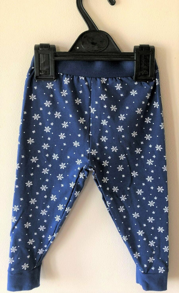 New Baby Girls Christmas Snowflake Pyjama Set - Exstore Snooze - Navy Blue - 9-12 M