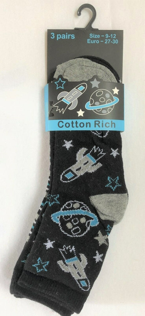 New Boys 3 Pack Cotton Rich Vibrant Planet Spaceship Socks - Exstore - Size 9-12