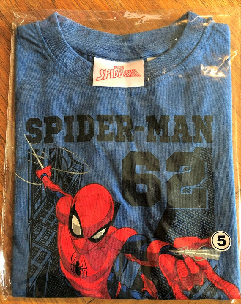 New Boys Marvel Spiderman 62 Hero Tshirt - Official - Marl Blue Ages 6 Years