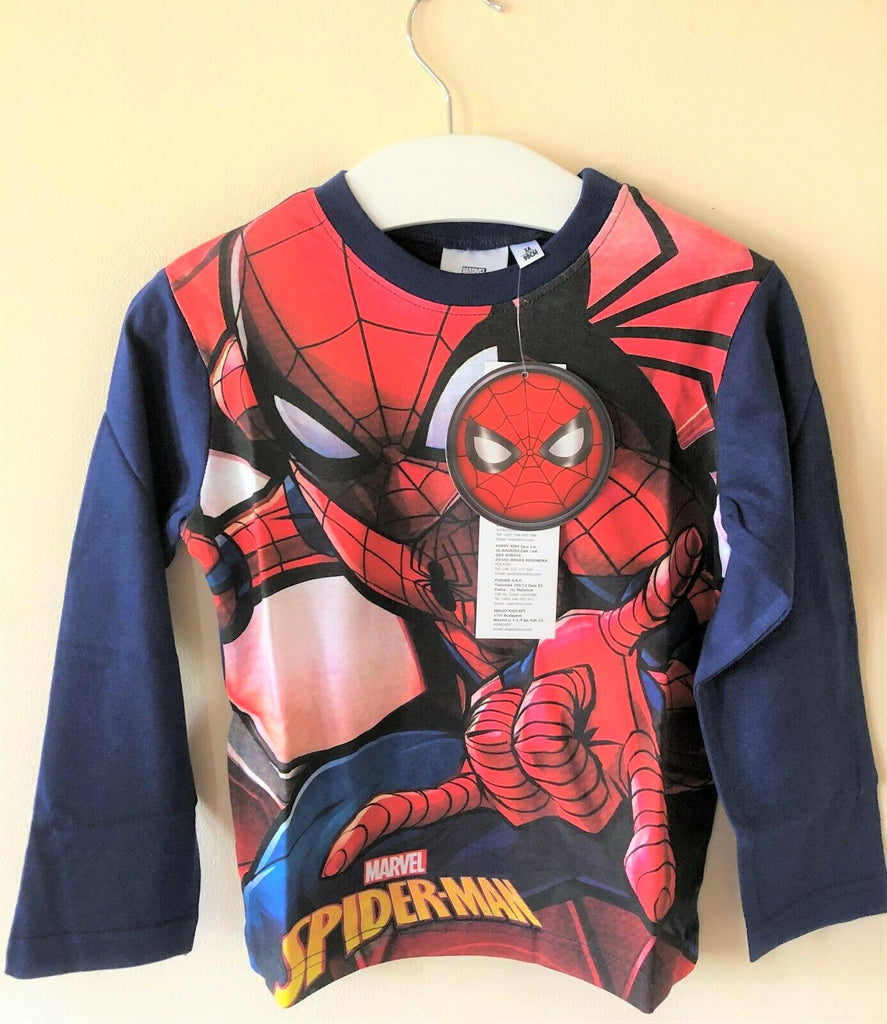 New Boys Marvel Spiderman Long Sleeved Top Navy Blue - Exstore - Ages 3-8 Yrs