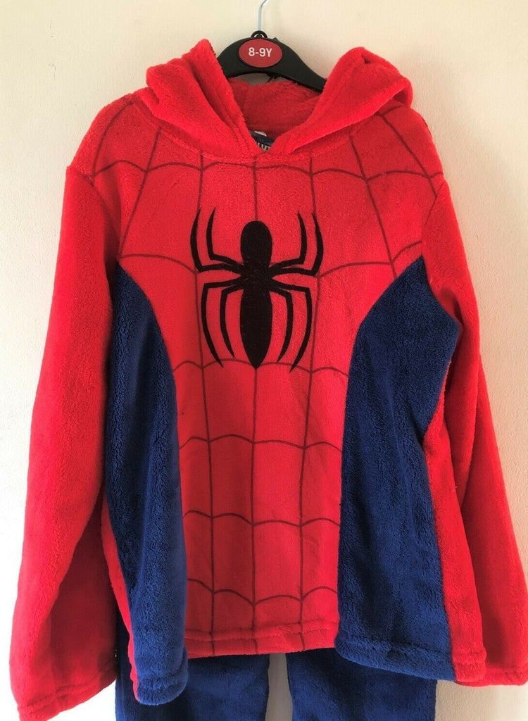 New Boys Spiderman Fleece Hoodie & Pyjama Bottoms - Offical Marvel - Age 8/9 Years