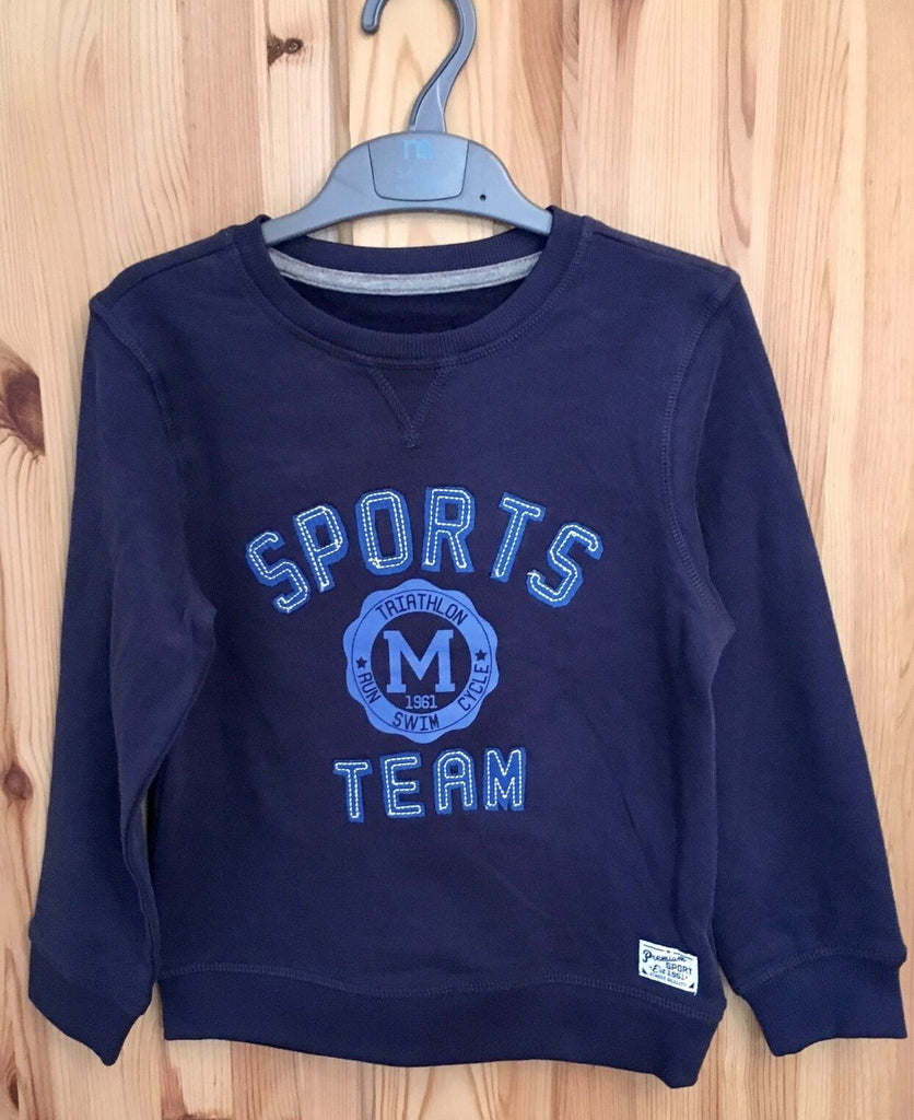 New Soft Baby Boys Sweater Top Sports Team -  Navy Blue - Exstore Mothercare - Age 18-24 M