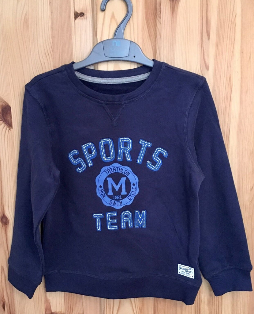 New Soft Boys Sweater Top Sports Team - Navy Blue - Exstore Mothercare - Ages 2-4 Yrs