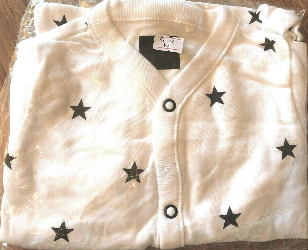 New Girls Boys Black/White Babygrow Stars- Exstore Next Baby - Ages 3-24M 100% Cotton