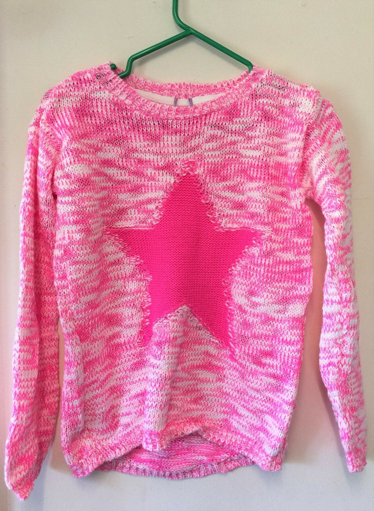 New Girls Star Knit Jumper Neon Pink -  Exstore F&F - Age 12-13 Years