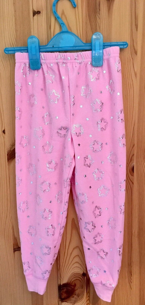 New Girls Fleece Pink Pyjama Bottoms Silver Stars - Exstore Primark - 4-5 Yrs