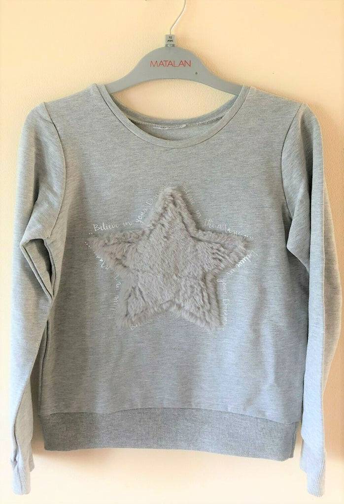 New Girls Star Dreams Christmas Top Sweatshirt Grey Faux Fur Applique - Exstore Matalan - Ages 6-12