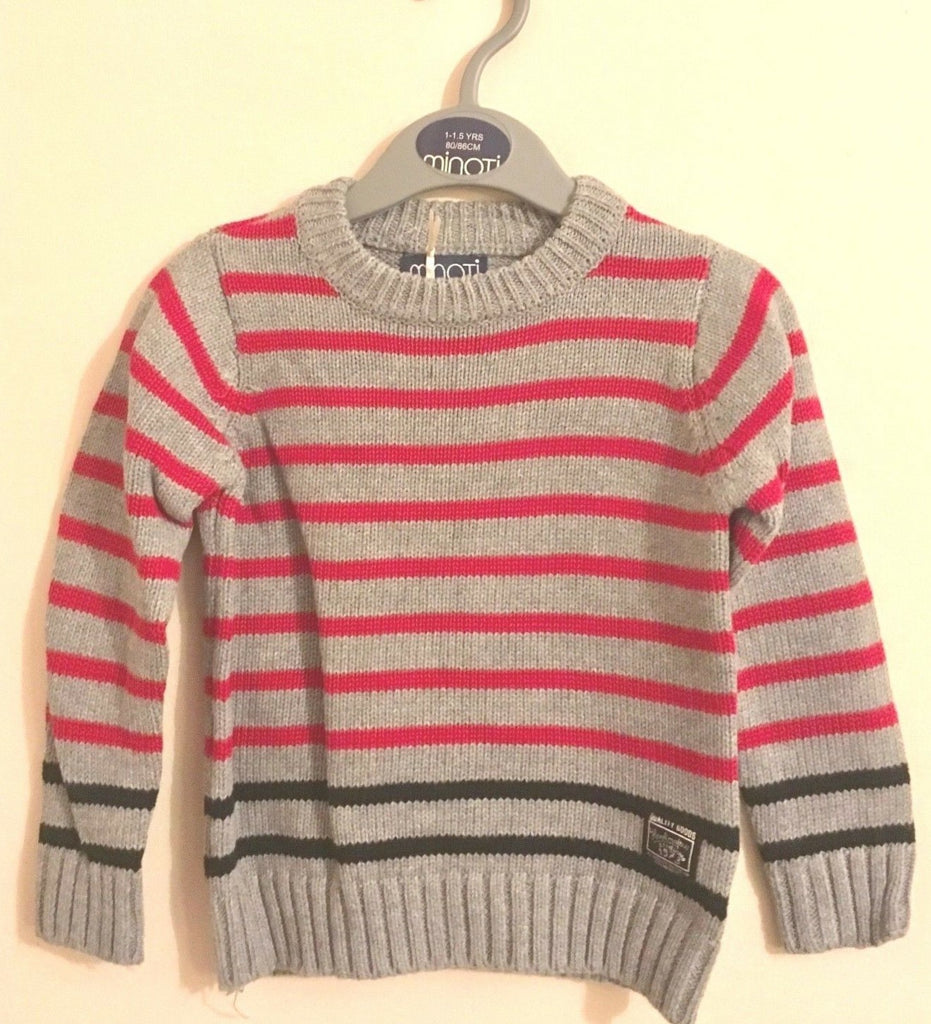 New Boys Grey Jumper with Navy Blue & Red Stripe - Exstore Minoti - 100% Cotton Ages 12-24 M
