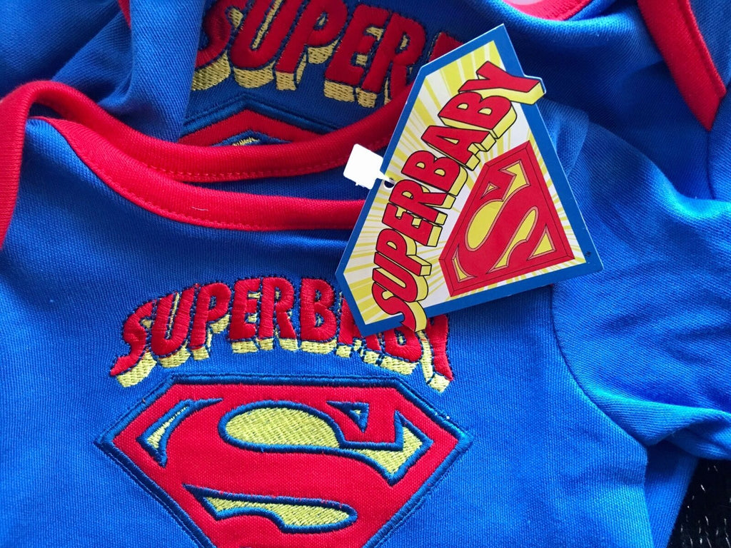 New Baby Boys Superman Babygrow - Exstore - Size 0-3 Months
