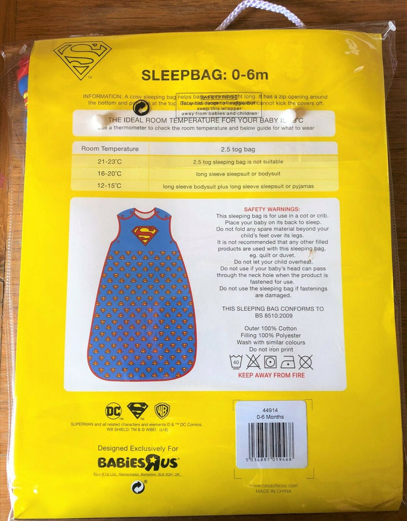New Baby Boys Superman Sleeping Bag - Exstore Babies R US - 2.5 Tog - 0-6M>68cm