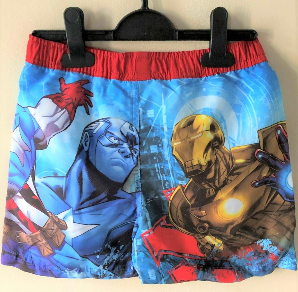 New Marvel Avengers Assemble Boys Swimming Trunks Shorts - Official - Sizes 7-8Yrs