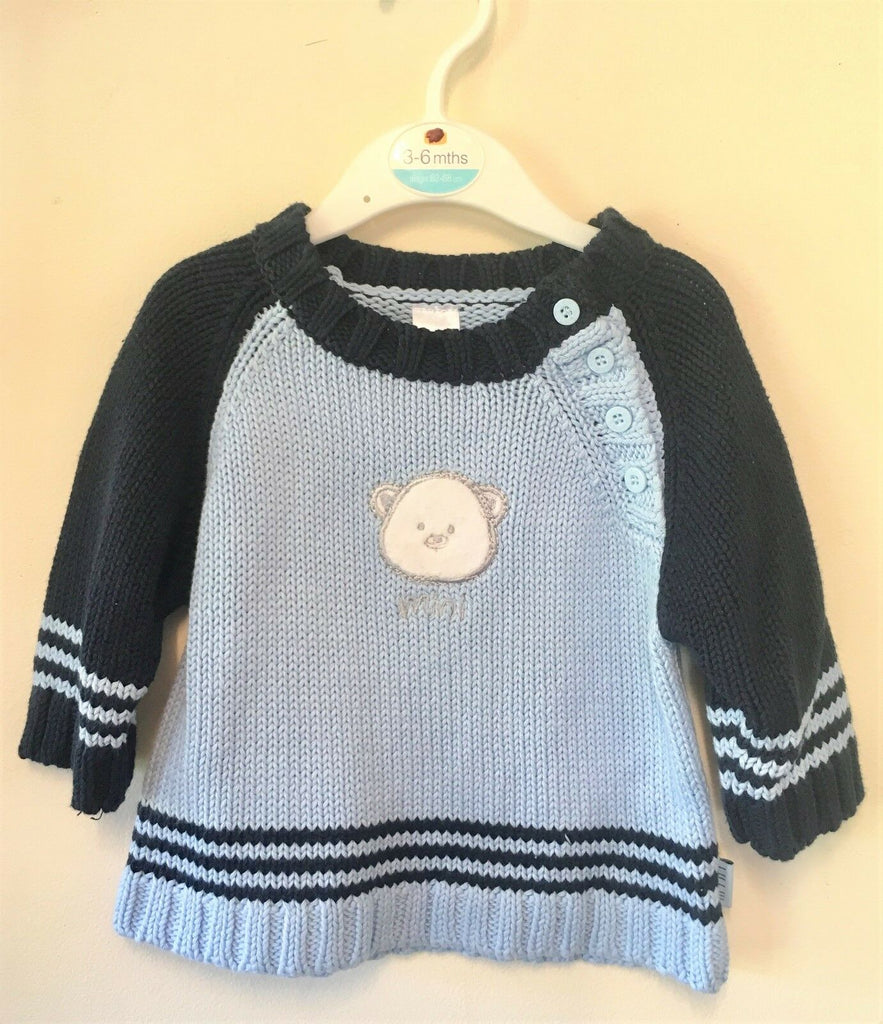 New Baby Boys Blue Teddy Bear Jumper - Exstore Mini Mode - Low Birth Weight - 9 Month