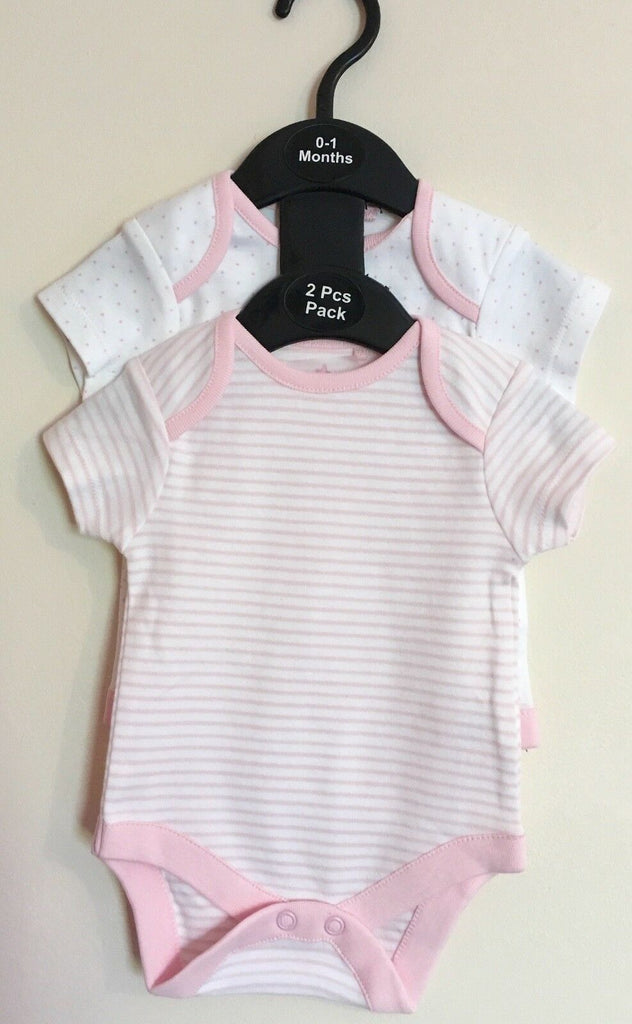 New Baby Girls 2 Pc Short Sleeved Vests - Exstore Next - Size 0-1 Months