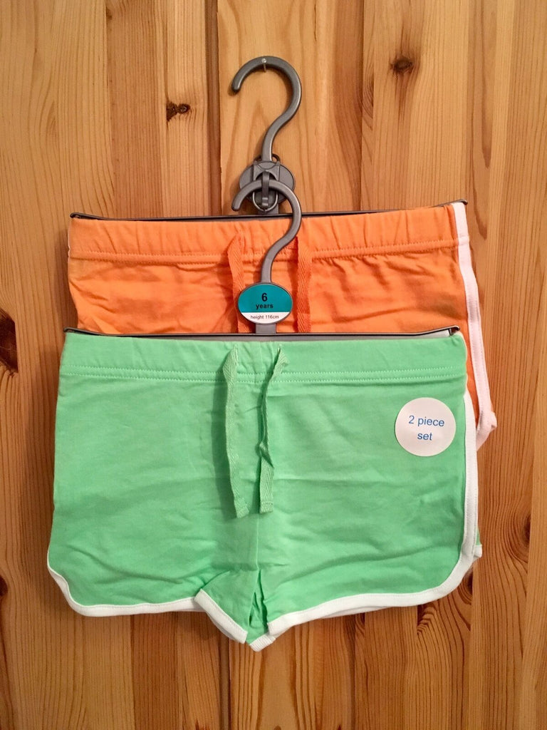 New Girls Shorts 2 Pack - Adams Exstore - Lime and Orange 100% Cotton Sizes 6 & 7 Years