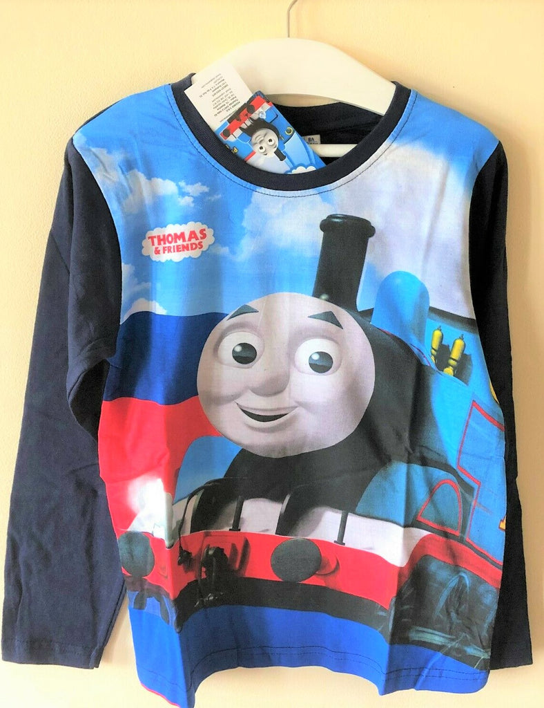New Boys Thomas & Friends Tank Engine Top - Long Sleeved Navy - 100% Cotton -  Size 3-6 Yrs