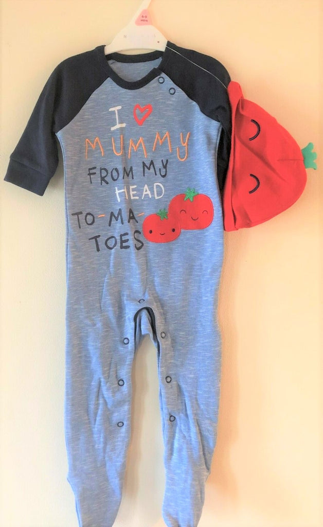 "New Baby Girl/Boy ""I Love Mummy"" Babygrow and Hat Set - Exstore Nutmeg - Ages 6-12M 100% Cotton"