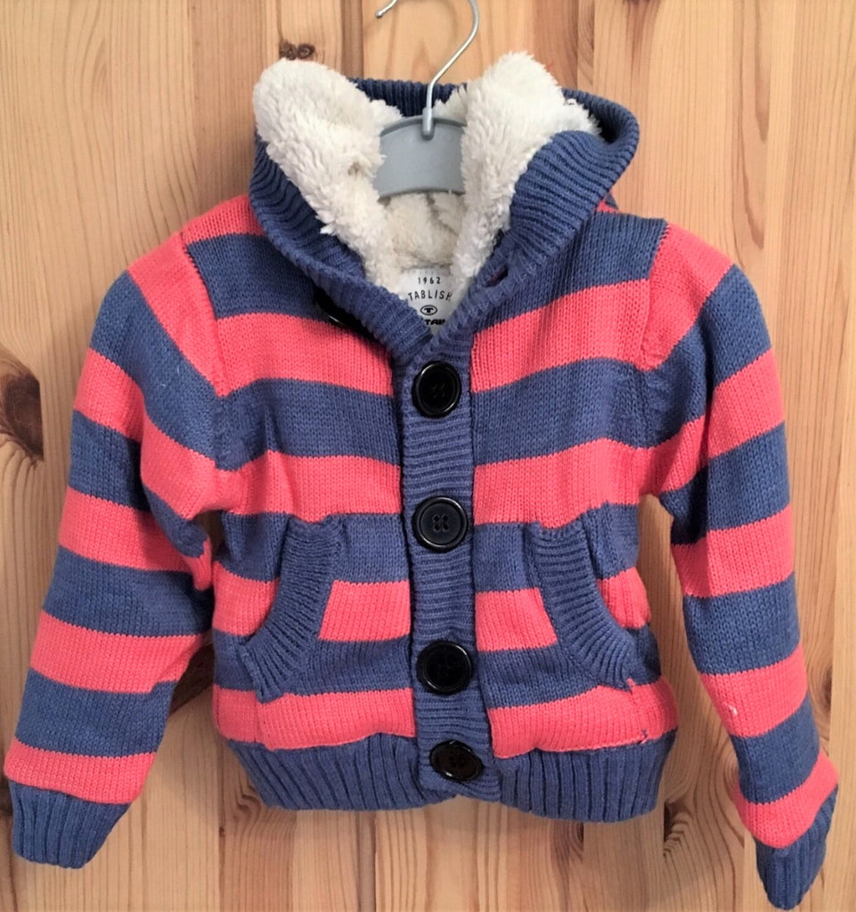 New Baby Girl OR Boy Hooded Fleece Knit Cardigan - Exstore Tom Tailor - Age 12 months