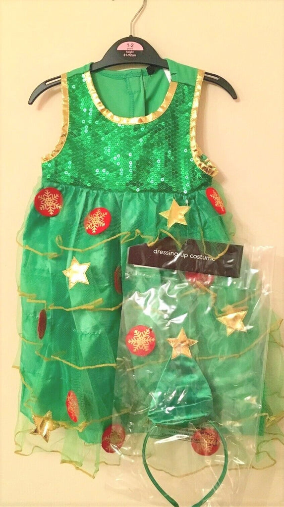 New Girls 2 Pc Christmas Tree Fancy Dress Costume - Exstore George - Ages 12-24 M