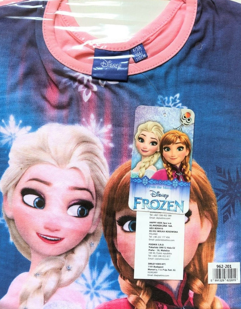 New Disney Girls Frozen Tshirt Blue Anna & Elsa - Official Exstore - Ages 4-5, 6, 8, 10 Y