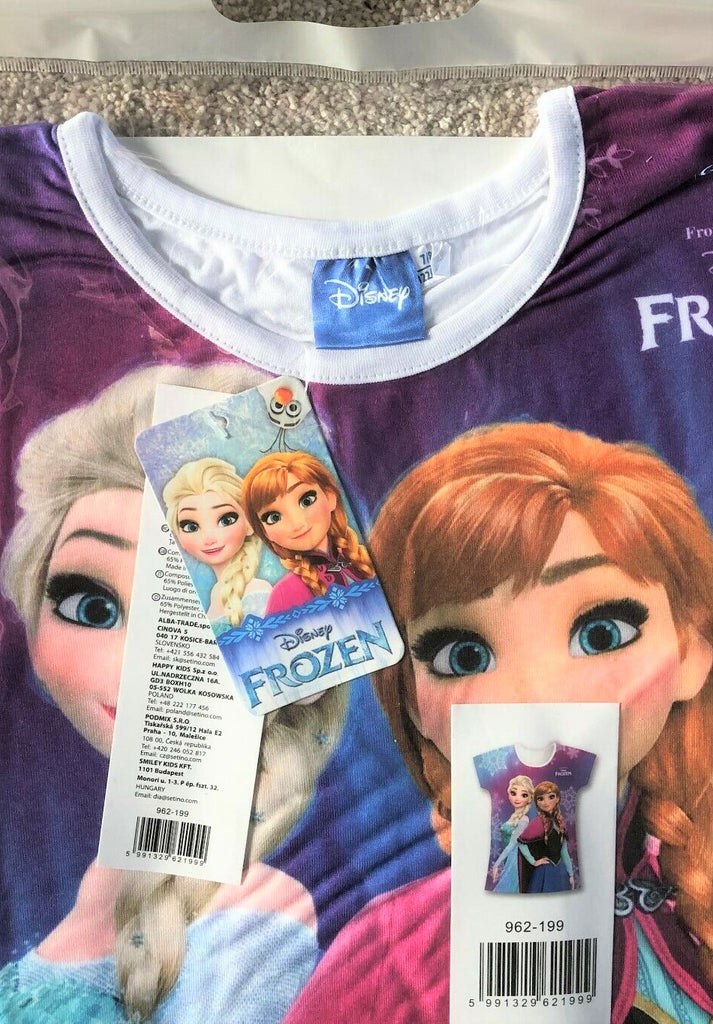 New Disney Girls Frozen White Collar Tshirt - Official Exstore - Ages 2-3, 5-6, 7-8Y